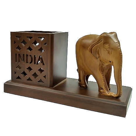 Engraved Pen Holder with Elephant Statue