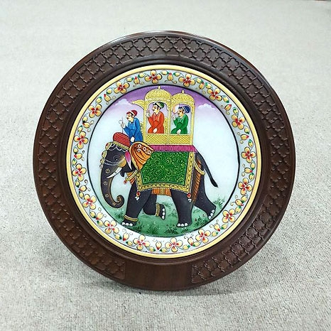 Marble Elephant Painting with Wooden Frame