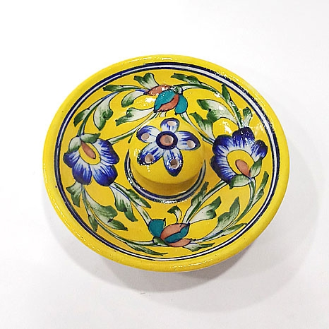 Blue Pottery Incense Holder Round