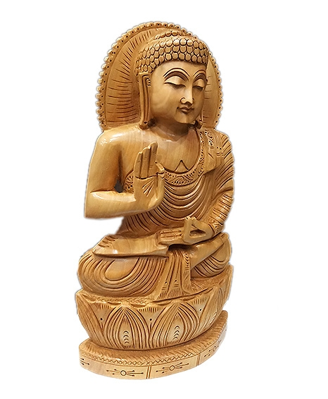 Wood Carving Buddha Statue 12 Inch