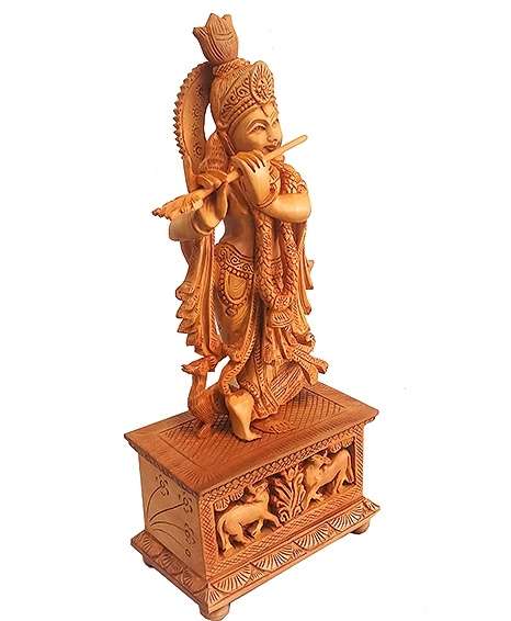 Wooden Carved Krishna Statue 13 inch Height