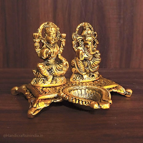Metal Lakshmi Ganesh Idol with Diya