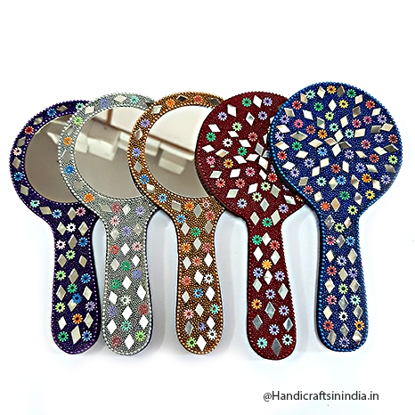 Colorful Lac Hand Mirror Big - Pack of 5pc