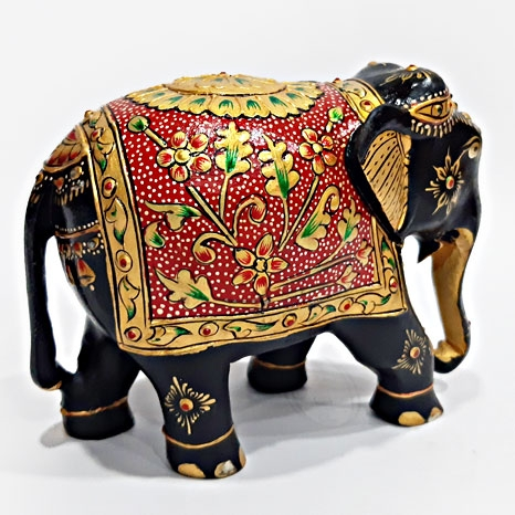 Wooden Floral Painted Elephant