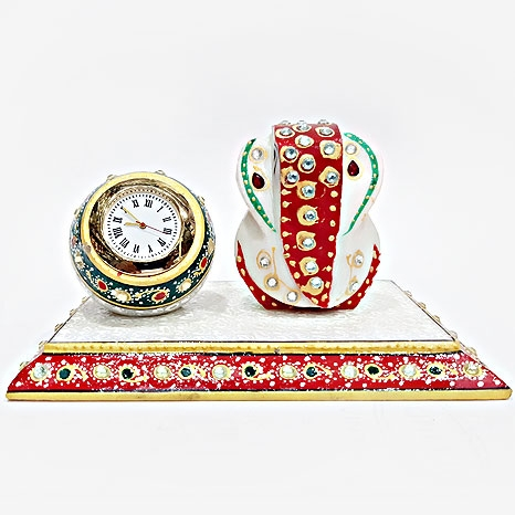 Marble Clock with Ganesh Statue
