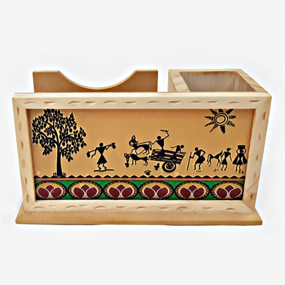 Wooden Pen Holder & Mobile Holder with Warli Art