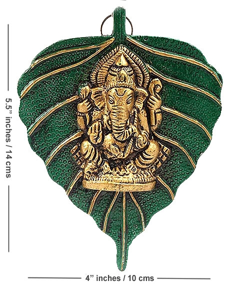 Metal Leaf Ganesh Wall Hanging - Pack of 2pc
