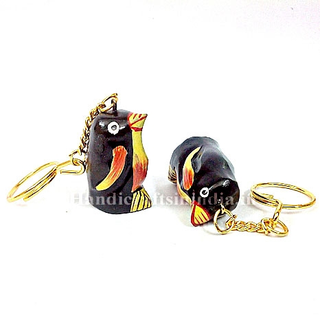 Wooden Pained Penguin Keychain - Pack of 12pc