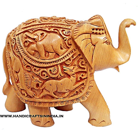 Wooden Shikar Carved Elephant