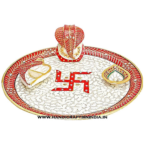Marble pooja thali with leaves design