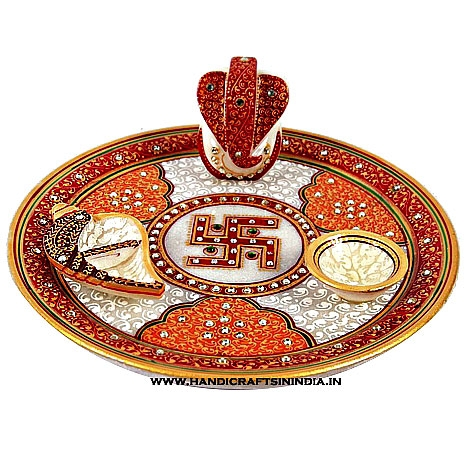 Marble Pooja Thali With Swastika Design Product Code 1052