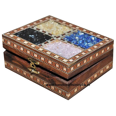 Wooden Jewellery Box with Multi Stones