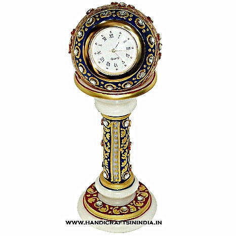 Marble Painted Pillar Clock