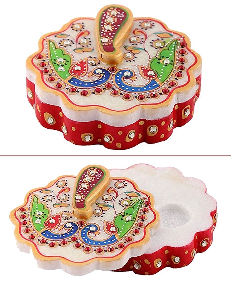 Marble Kumkum box in Ganesh design