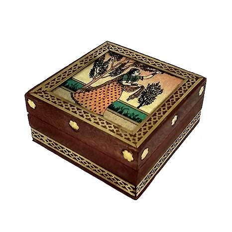 Wooden Brass Work Jewellery Box 3 x 3 inch (Pack of 2pc)
