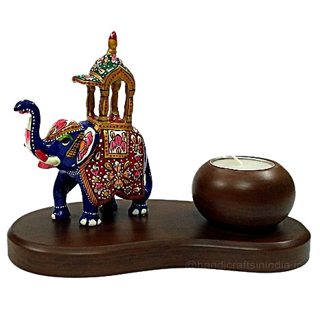 Wooden Candle Holder with Meenakari Ambabari