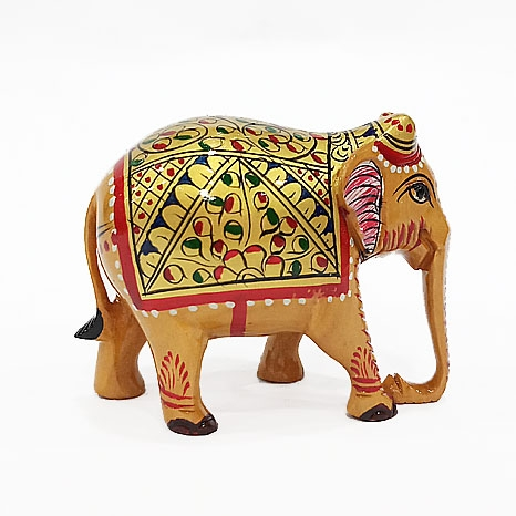 Wooden Painted Elephant Statue 5cm