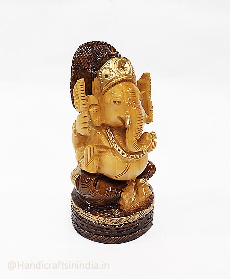 Wooden Round Ganesh with Brown Painting 5 inch