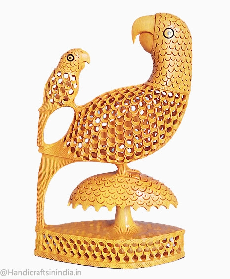 Wood Carving Parrot & chick 8 Inch Height