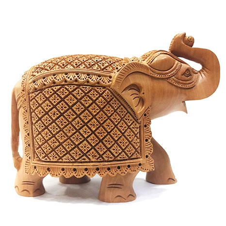 Masterpiece of Wooden Carved Elephant 9x6