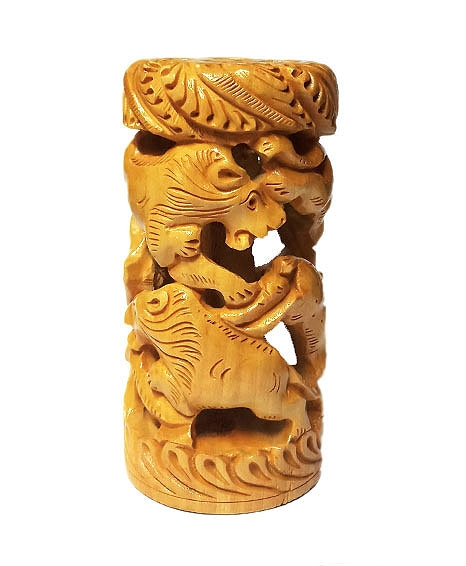 Wood Carving Showpiece 6 Inch Height