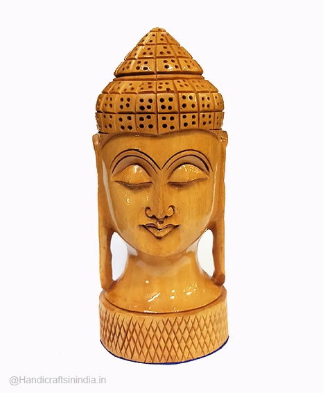 Wooden Carved Buddha Head 6 inch