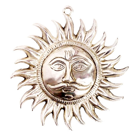 "Metal Sun Face Hanging 8""x8"""