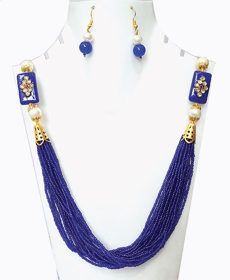 Blue Moti Mala Necklace Set