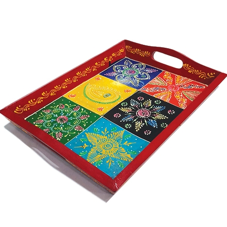 Wooden Embossed Painted Tray 15x12