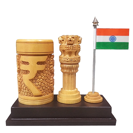 Carving Ashoka pillar with Pen holder & Flag