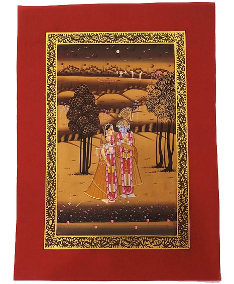 Red Silk Painting of Radha & Krishna Unframed