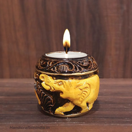 Wooden Carved & Painted Candle Holder Small