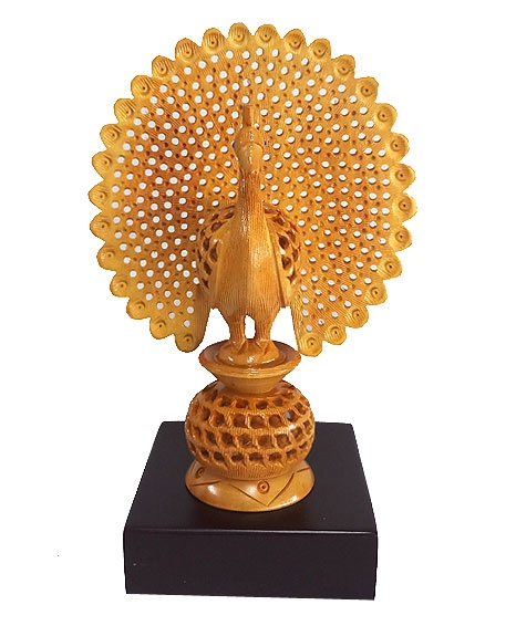 Wooden Carved Dancing Peacock on Base