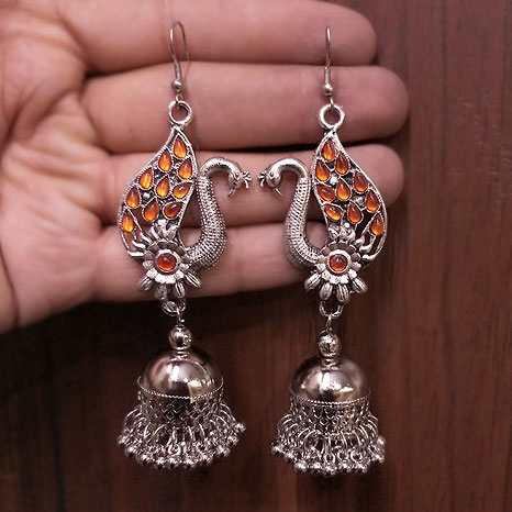 Peacock Earrings – Orange