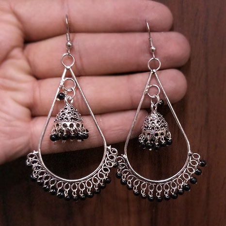 Jhumki Earrings with Black Beads