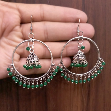 Stylish Jhumka with green Stones