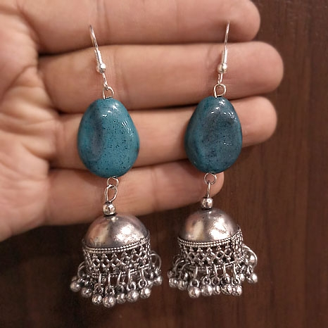 Jhumka Earring with Firoza Stone
