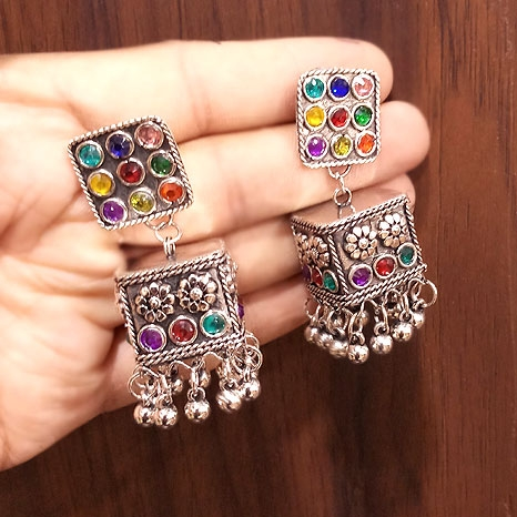 Earrings with Multi Stones - 2750