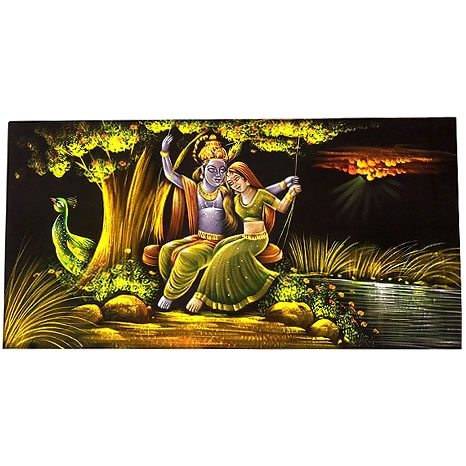 Radha Krishna Painting on Velvet