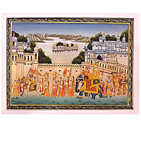 Mughal King Procession Painting