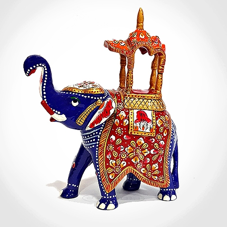Meenakari Ambabari Elephant - 17cm Height