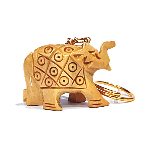 Carved Elephant Keychain - Pack of 12pc