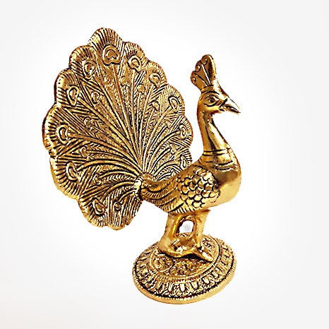 Metal Peacock Dancing Golden