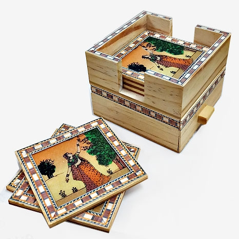 Wooden Coaster & Drawer Set with Inlaid Work