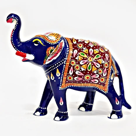 Metal Painted Elephant 4 inch