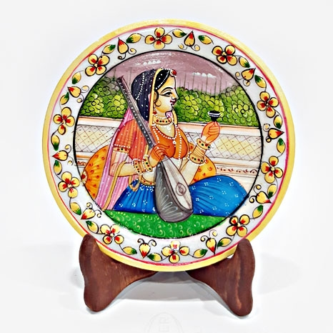 Bani Thani Painting on Marble Plate (15cm Diameter)