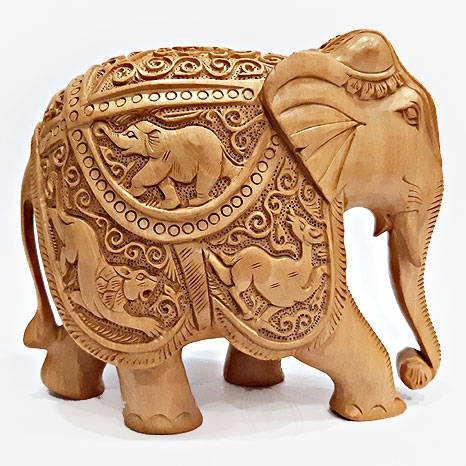 Wooden Shikar Carved Elephant Statue (13cm Height)