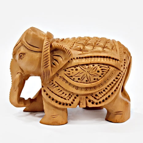 Elegant Wooden Carved Elephant Statue – 5cm Height