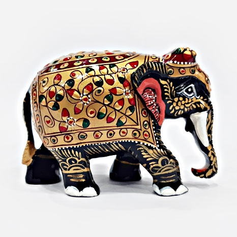 Wooden Embossed Painted Elephant (Black) - 8cm Height