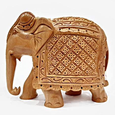Wooden Carved Trunk down Elephant - 13cm Height